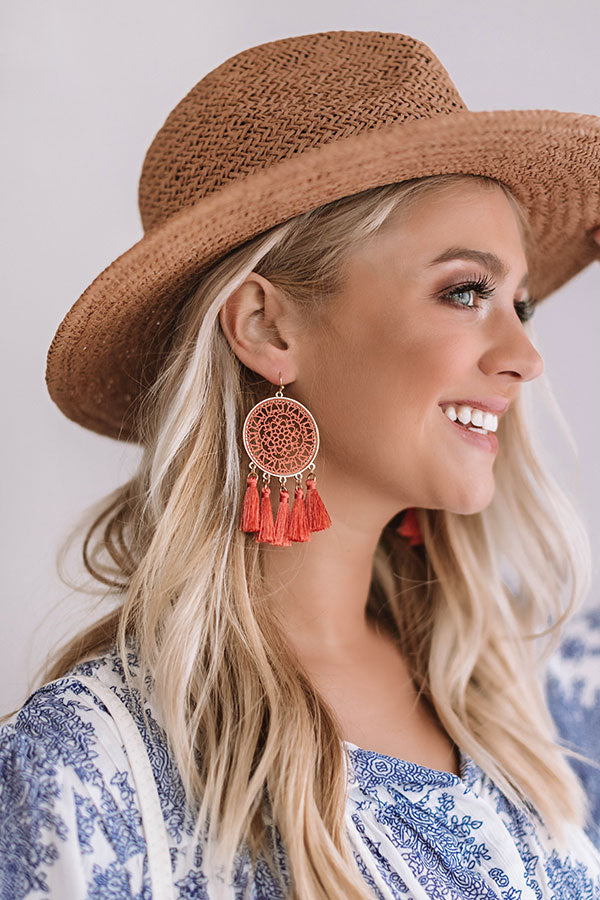 Chasing Wildflowers Earrings In Coral