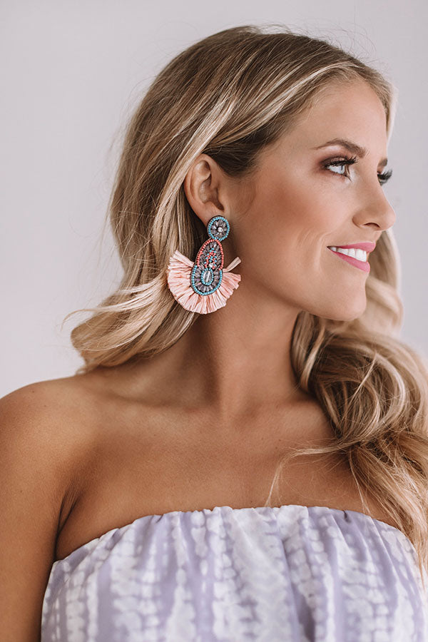 Fall In Love With Malibu Earrings In Peach