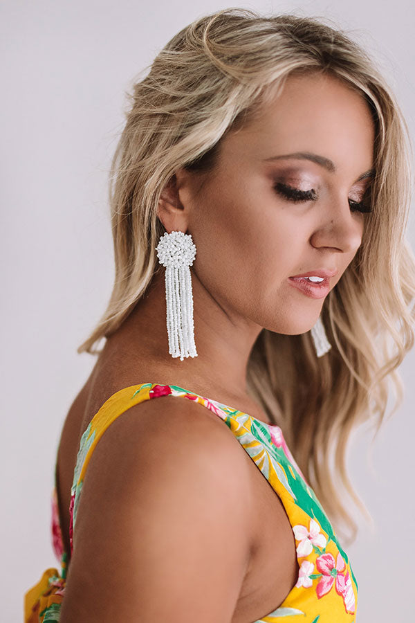 Feeling Coastal Tassel Earrings In White