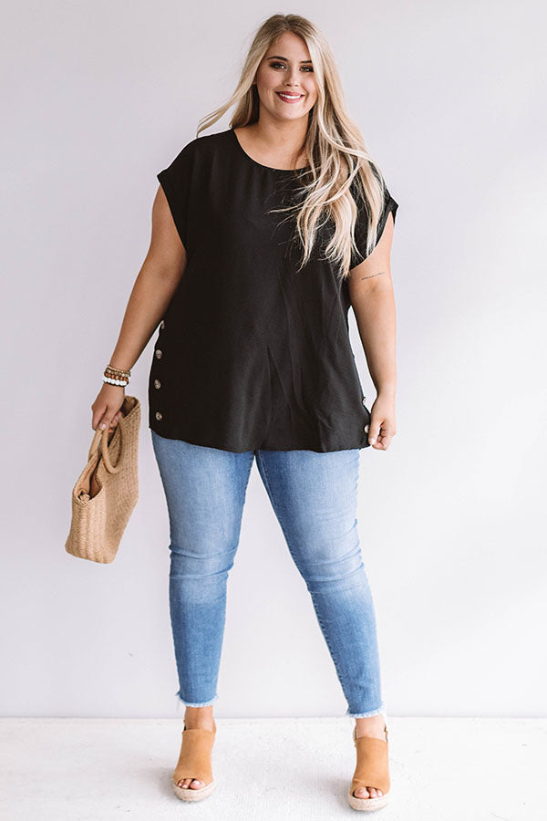 Haute Off The Press Shift Top In Black