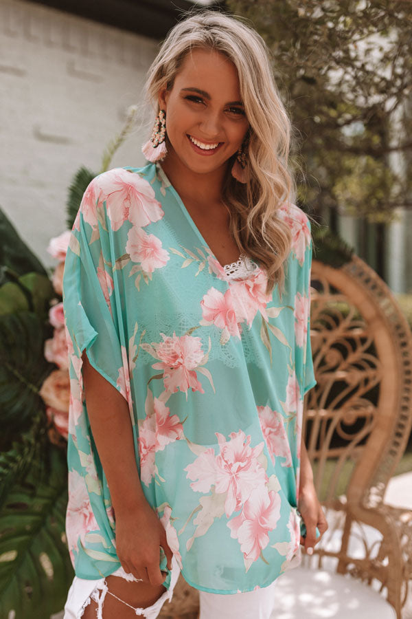 Call The Haute-Line Floral Tunic In Ocean Wave