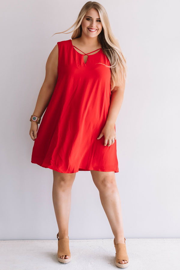 f58b4ed19ba Dinner With A View Shift Dress in Red • Impressions Online Boutique