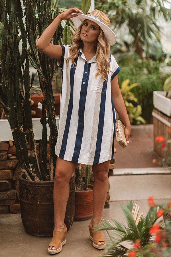 Time For A Vacation Shift Dress in Navy