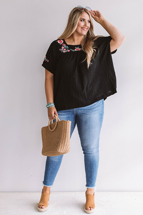 Bubbly Brunch Embroidered Top In Black