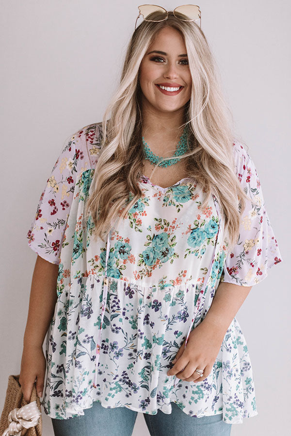 Champagne and Chiffon Floral Top in Ivory
