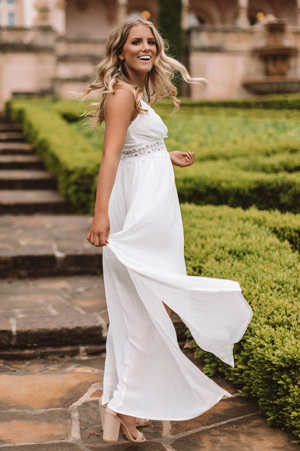 Cosmos at the Beach House Crochet Trim Maxi