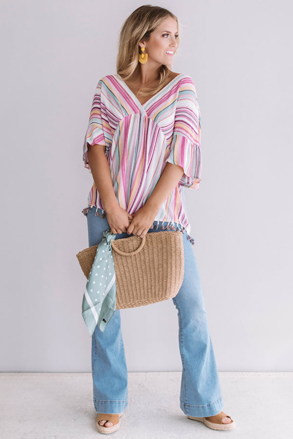 Adore You More Stripe Tassel Top