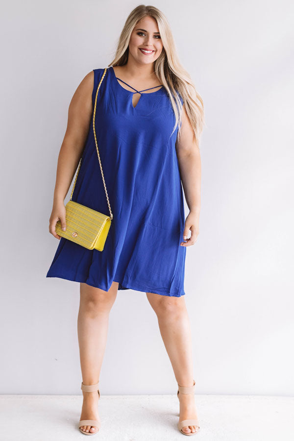 Dinner With A View Shift Dress in Royal Blue