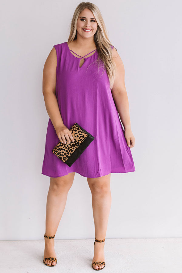Dinner With A View Shift Dress in Purple