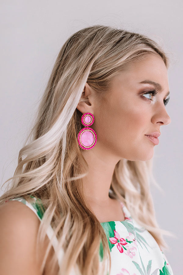 Be Dazzled Beaded Earrings In Hot Pink