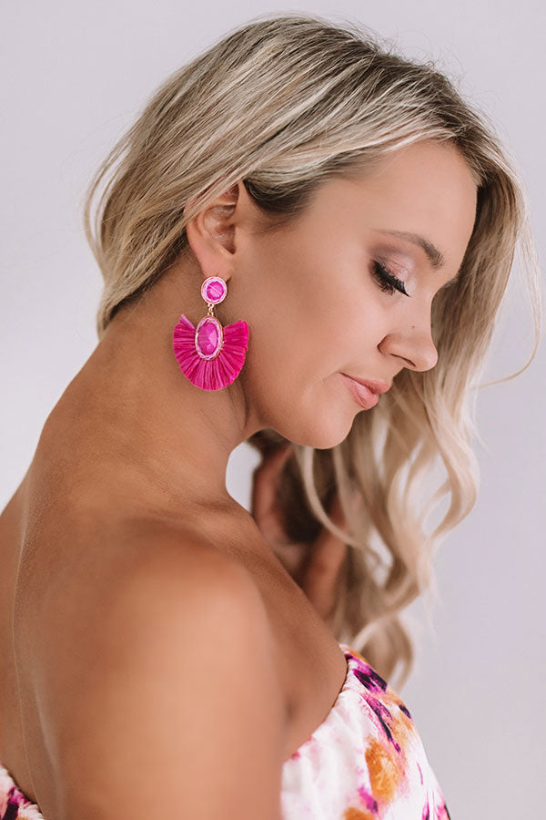 Travel Abroad Fan Earrings in Fuchsia