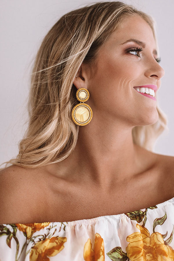 Be Dazzled Beaded Earrings In Primrose Yellow
