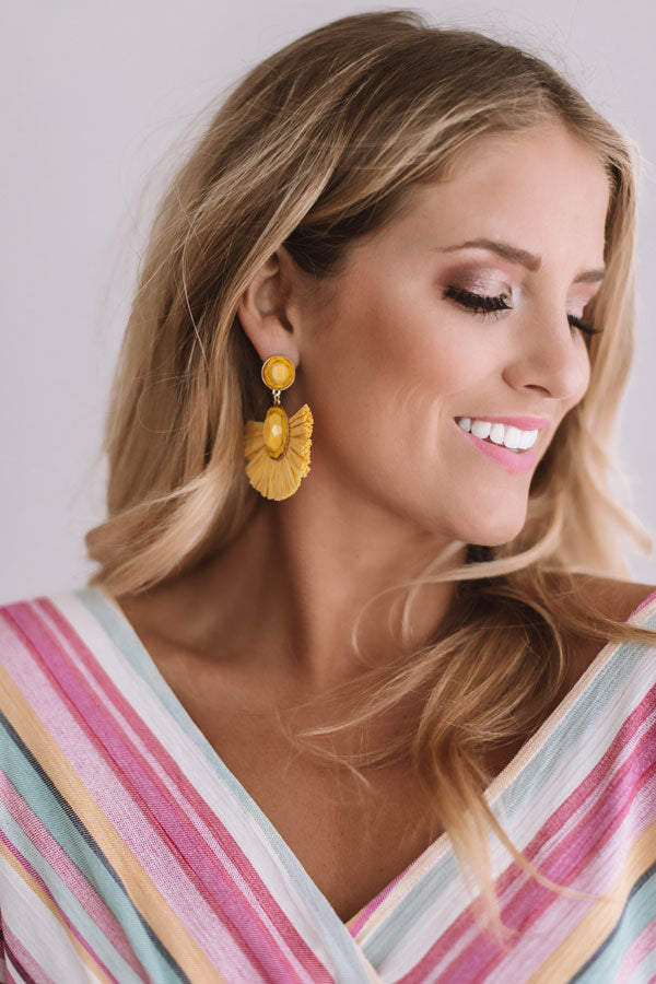 Travel Abroad Fan Earrings in Yellow