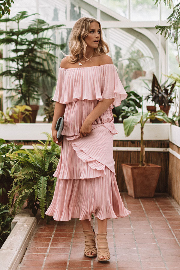 Italian Twirls Midi In Blush