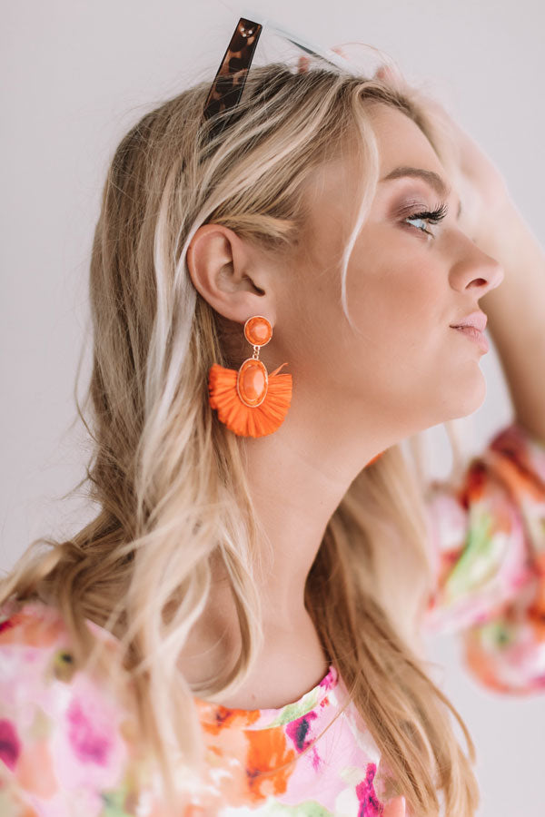 Travel Abroad Fan Earrings in Orange