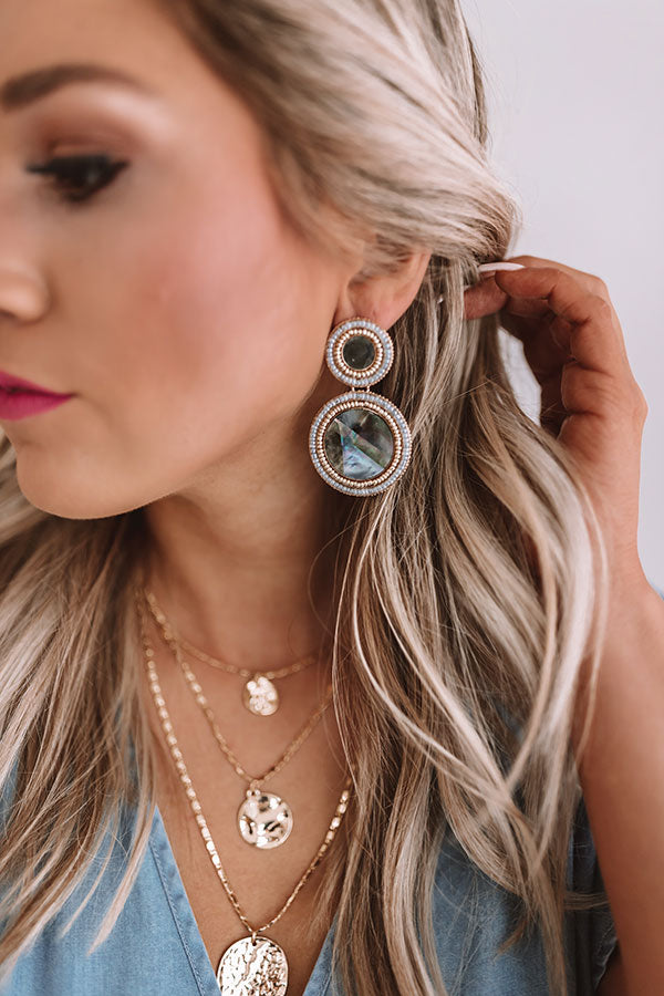 Be Dazzled Beaded Earrings In Grey