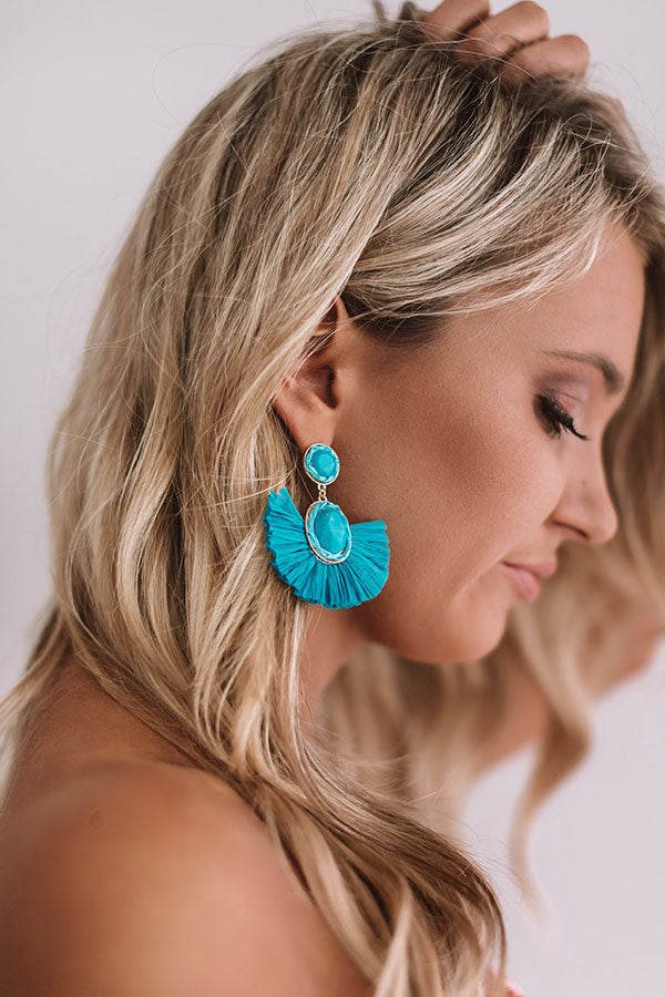 Travel Abroad Fan Earrings in Ocean Blue