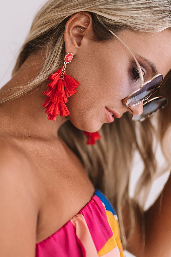 Come Away With Me Tassel Earrings in Red