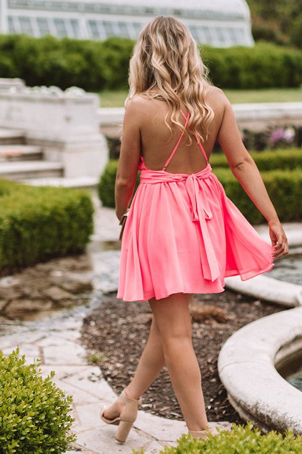Meant To Impress Lace Trim Dress In Hot Pink