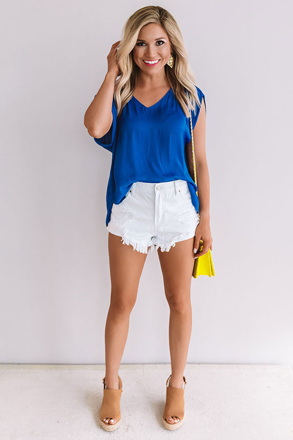 Pina Colada Paradise Shift Top In Royal Blue