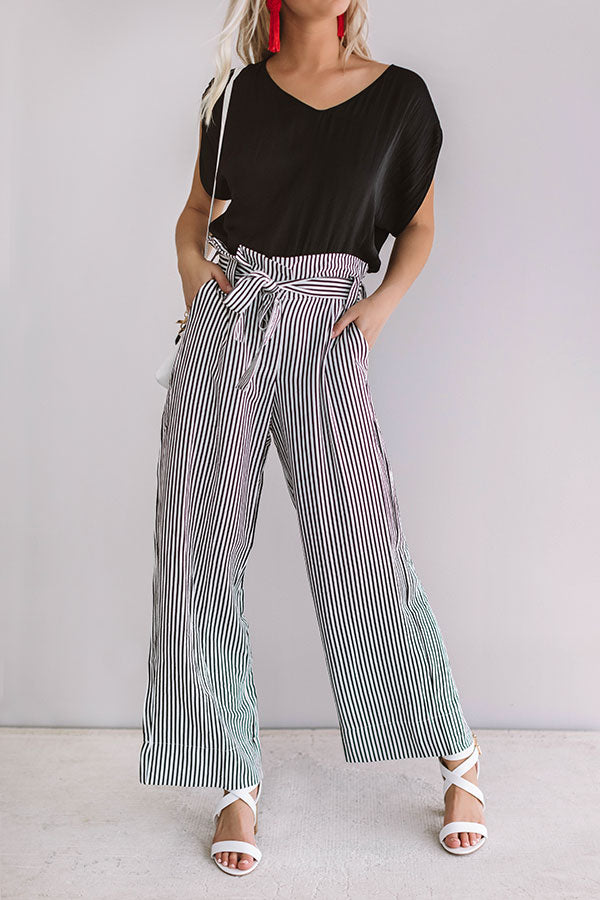 Yacht Club High Waist Stripe Pants In Black