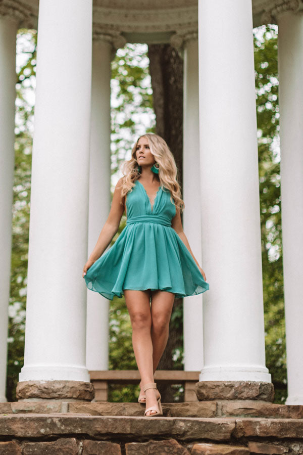Meant To Impress Lace Trim Dress In Jade