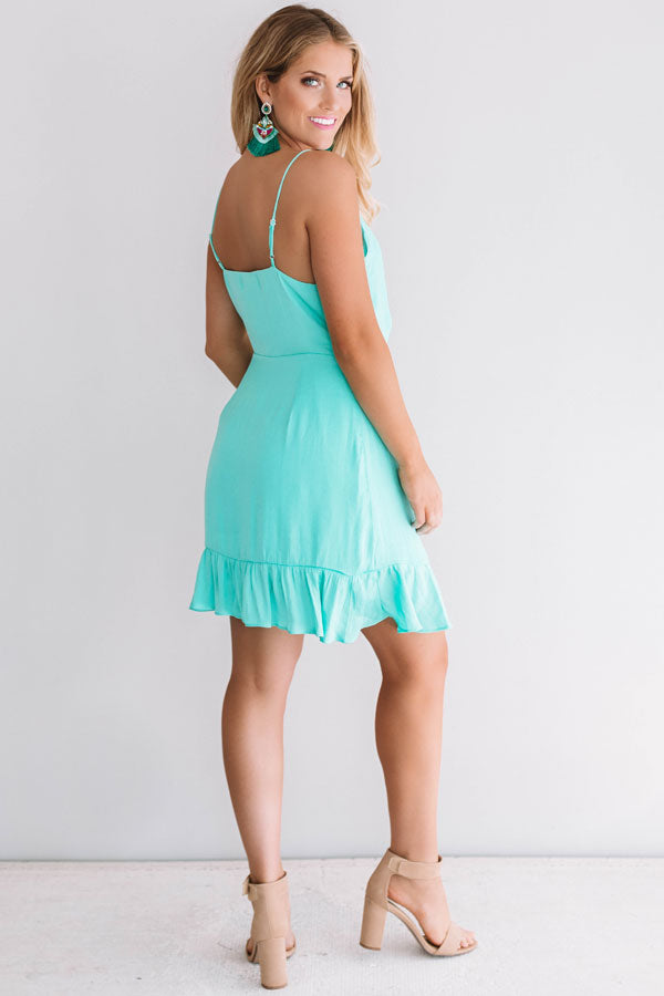 Pina Colada Casual Wrap Dress In Sea Glass