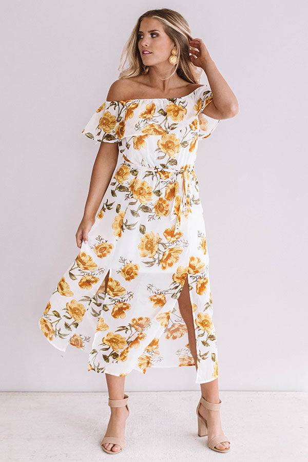 Time For A Vacay Floral Midi