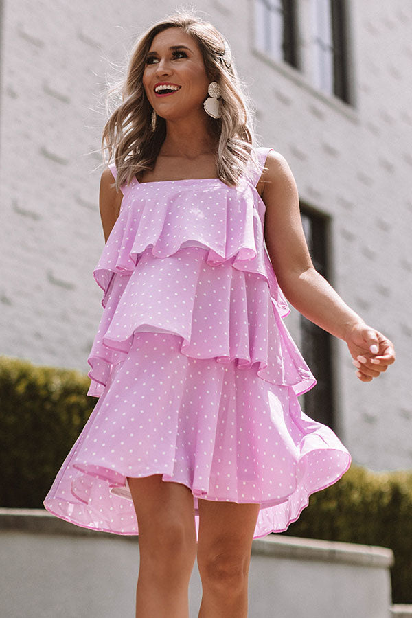 Darling Destination Polka Dot Tiered Dress in Orchid