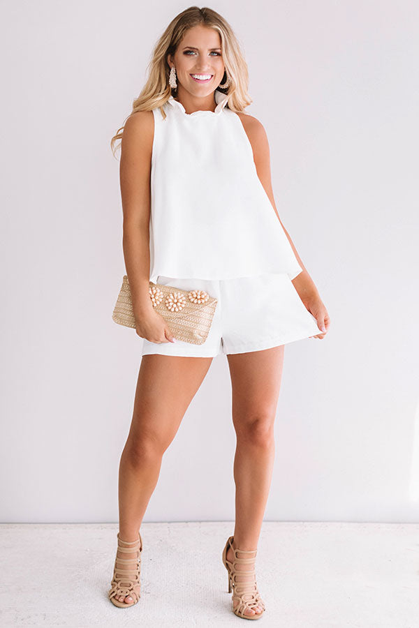 Make It Or Break It Ruffle Romper In White