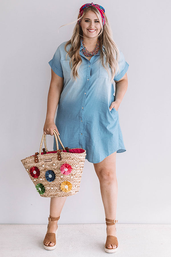 Champagne And Chit Chat Chambray Dress