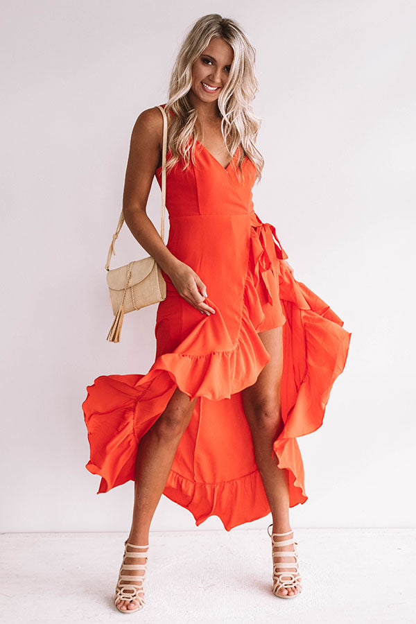 Tahiti And Twirls Ruffle Dress In Tangerine