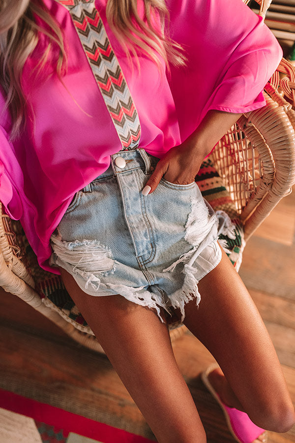Baja Babe Distressed High Waist Shorts In Light Wash