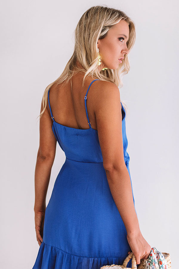 Pina Colada Casual Wrap Dress In Royal Blue