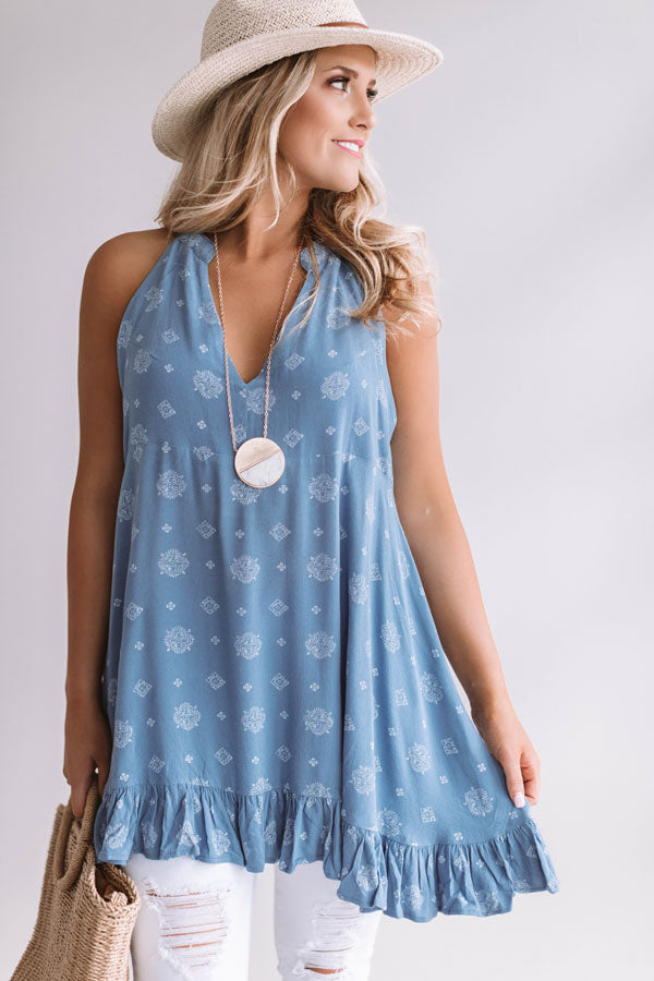 Cosmos With The Girls Shift Tunic Dress In Airy Blue