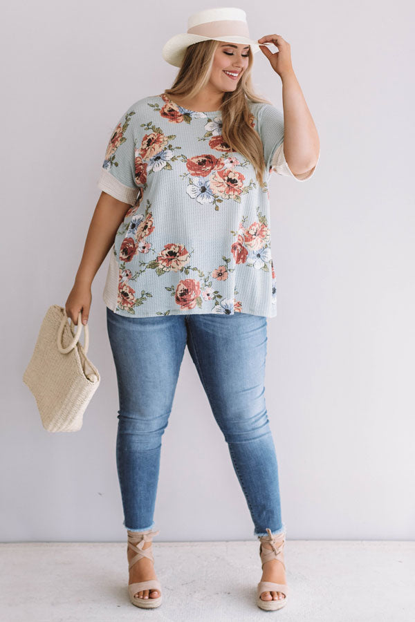 Floral Feels Waffle Knit Top in Light Limpet Shell