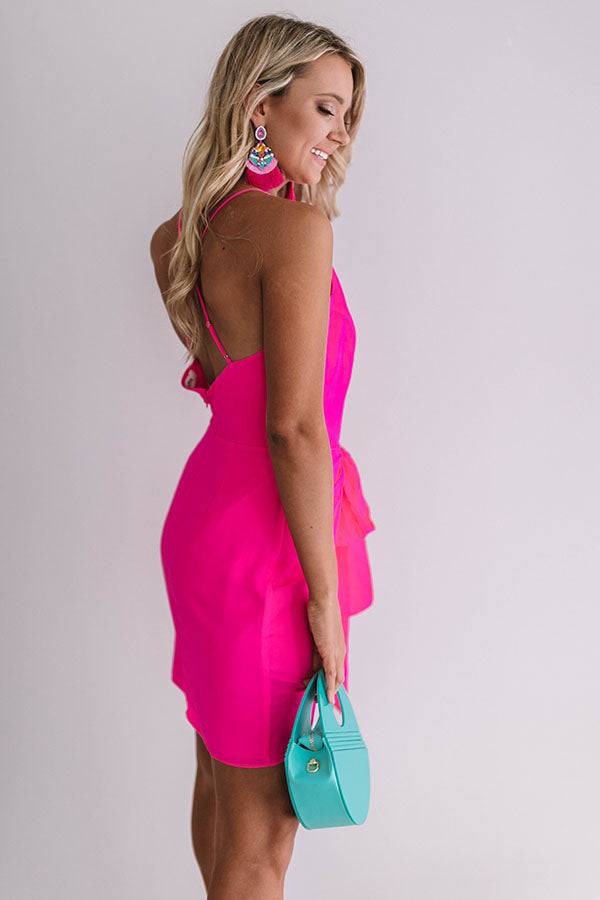 French Champagne Tie Dress In Hot Pink