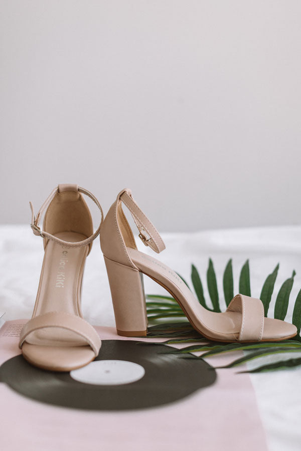 The Leigh Faux Leather Heel in Light Latte