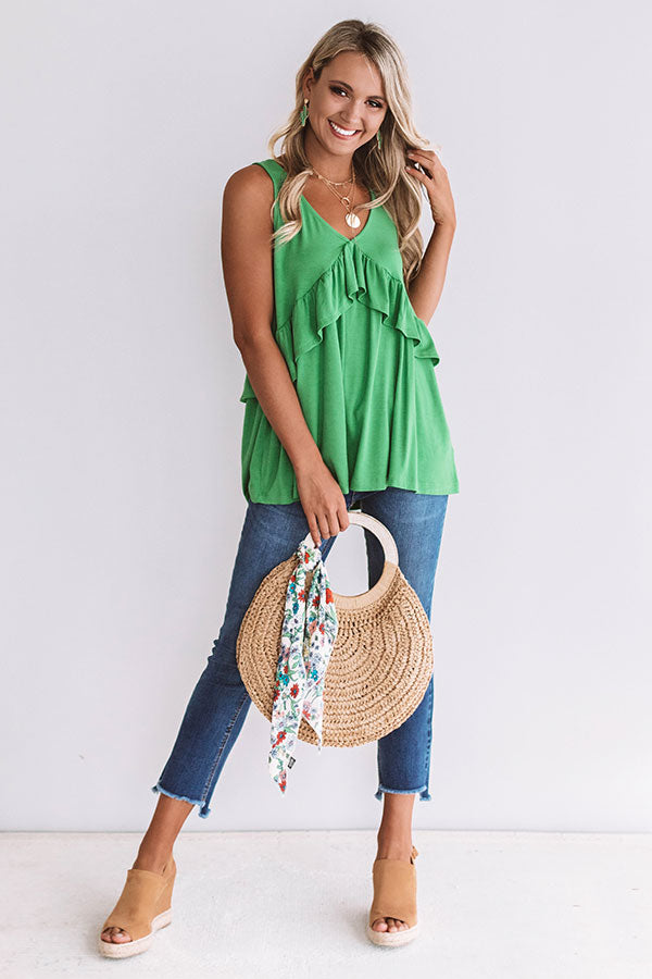 Tampa Bay Bliss Babydoll Tank in Kelly Green