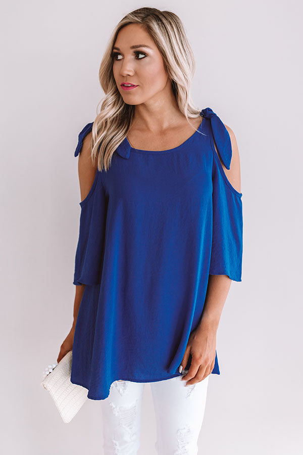 Call Me For Cocktails Shift Top In Royal Blue