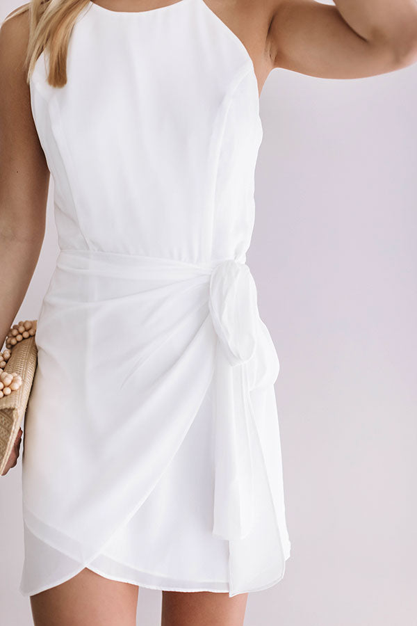 French Champagne Tie Dress In White