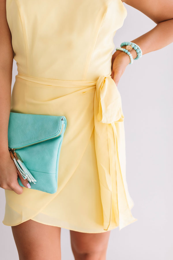French Champagne Tie Dress In Yellow