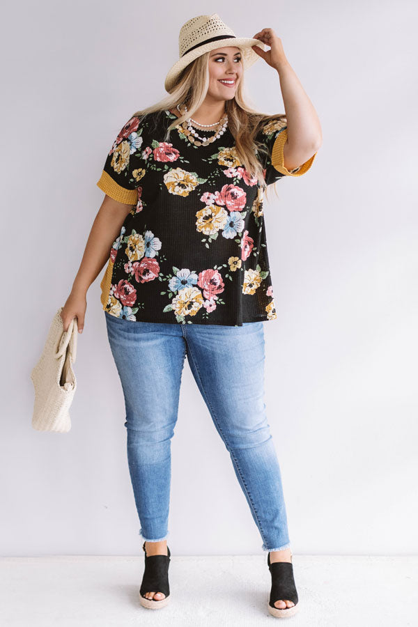 Floral Feels Waffle Knit Top in Black