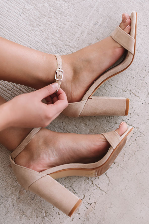 The Leigh Faux Suede Heel in Natural