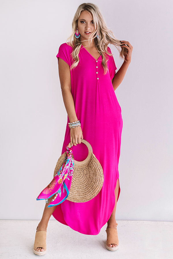 Baja Bliss T-Shirt Maxi In Hot Pink