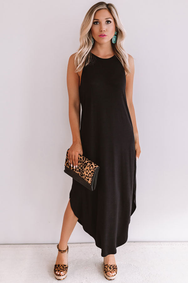 Coasts And Cocktails T-Shirt Midi in Black