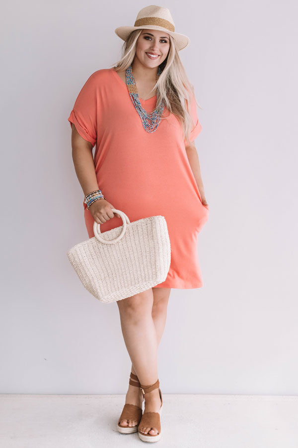 Macarons In Manhattan T-Shirt Dress In Coral