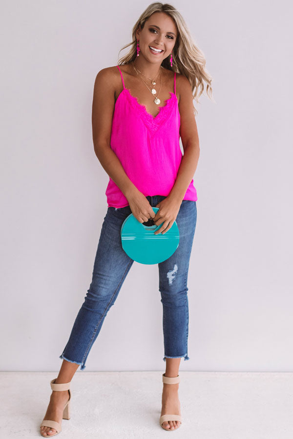 Heat Of The Moment Lace Tank In Hot Pink