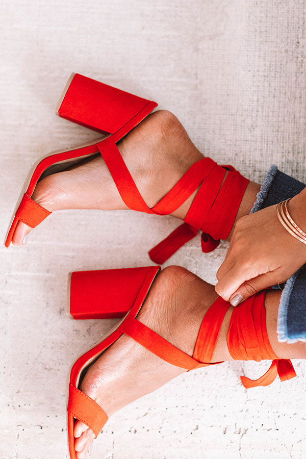 The Parker Faux Suede Lace Up Heel In Scarlet