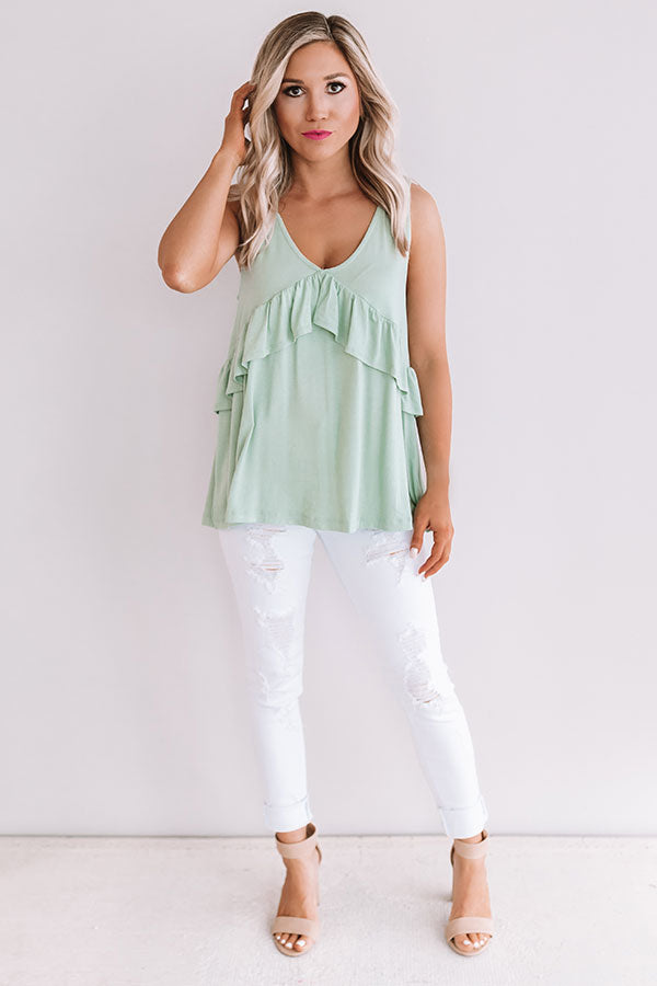 Tampa Bay Bliss Babydoll Tank in Pear